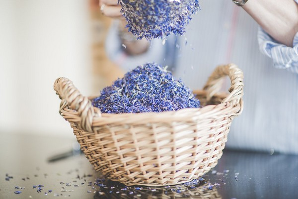 Basket of purple confetti