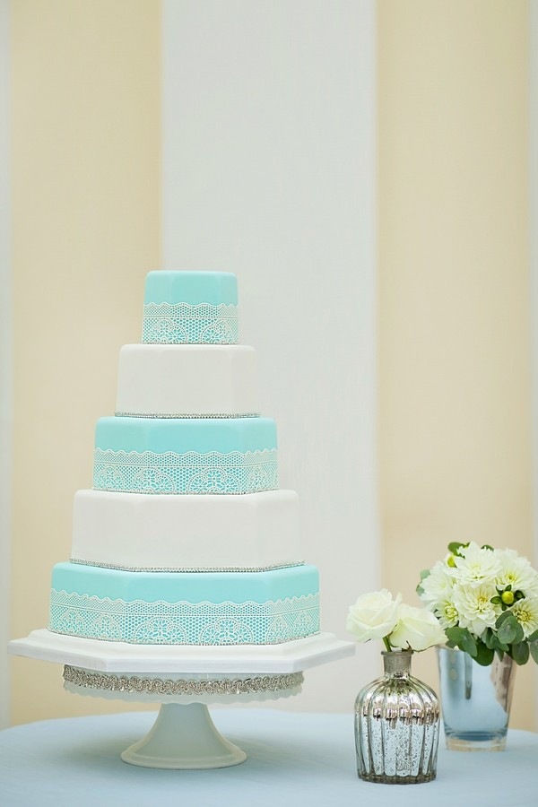 Audrey Blue and White Wedding Cake by GC Couture