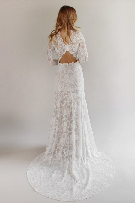 Back of Beverly Wedding Dress from the Claire Pettibone Romantique California Dreamin' 2017 Bridal Collection