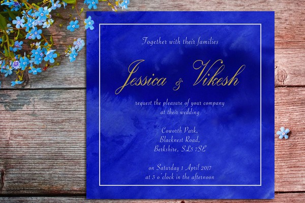 Blue Watercolour Wedding Invitation by Ananya Cards