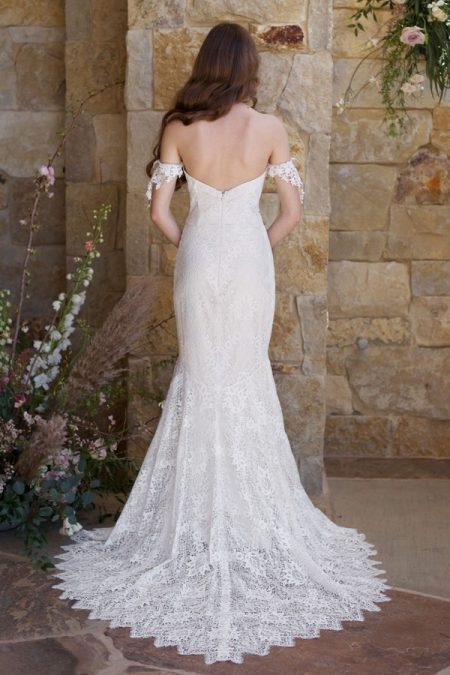 Back of Bordeaux Wedding Dress from the Claire Pettibone Romantique The Vineyard Collection 2018