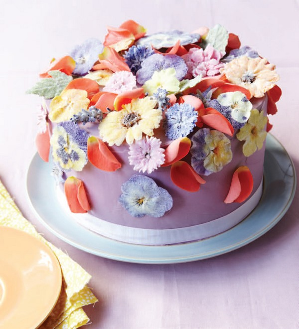 Purple Cake with Edible Flowers