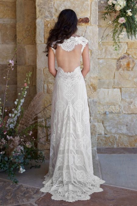 Back of Calistoga Wedding Dress from the Claire Pettibone Romantique The Vineyard Collection 2018