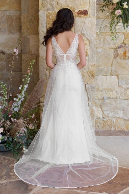 Back of Champagne Wedding Dress from the Claire Pettibone Romantique The Vineyard Collection 2018