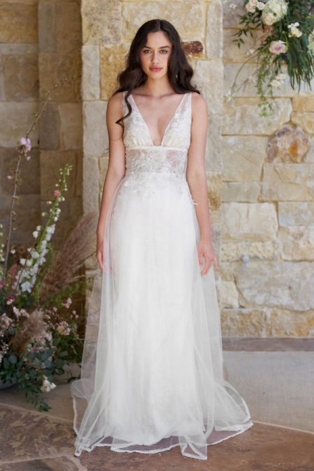 Champagne Wedding Dress from the Claire Pettibone Romantique The Vineyard Collection 2018