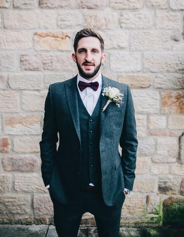 Groom Wearing Charcoal Grey Suit