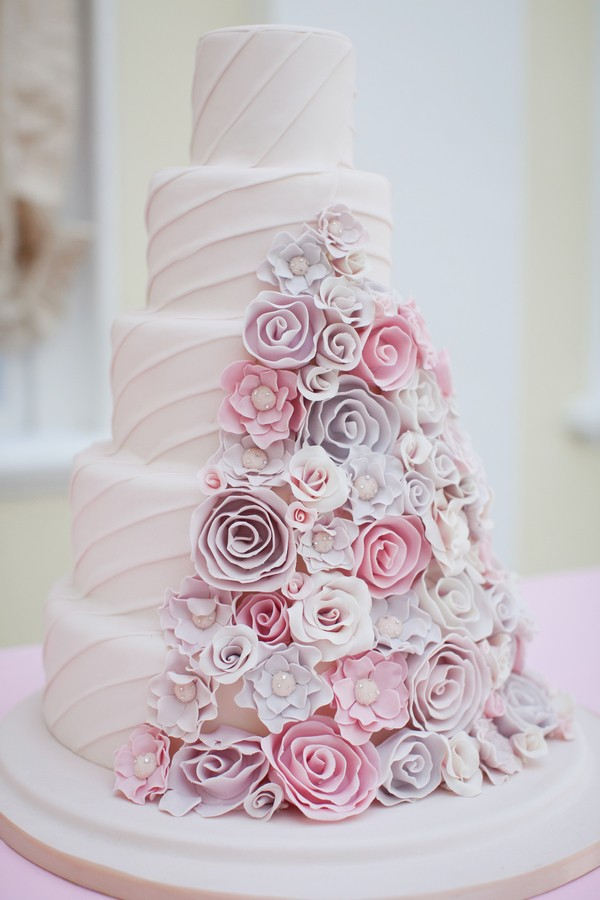 Cheryl Wedding Cake with Sugar Flower Detail by GC Couture