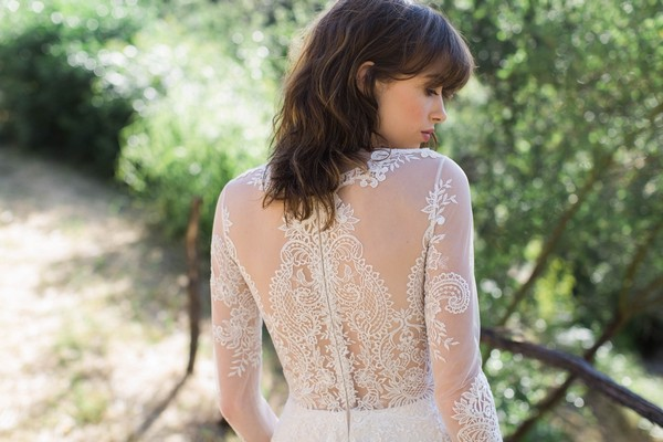 Detail on Back of Pasadena Wedding Dress by Claire Pettibone - Image from California Dreamin' Styled Shoot