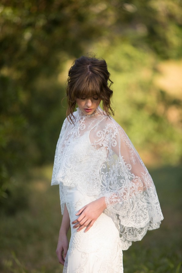 Detail on Santa Monica Wedding Dress with Cape by Claire Pettibone - Image from California Dreamin' Styled Shoot