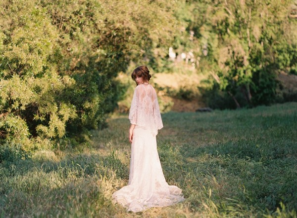 Santa Monica Wedding Dress with Cape by Claire Pettibone - Image from California Dreamin' Styled Shoot