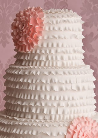 Close Up of Frill Wedding Cake by Maisie Fantaisie