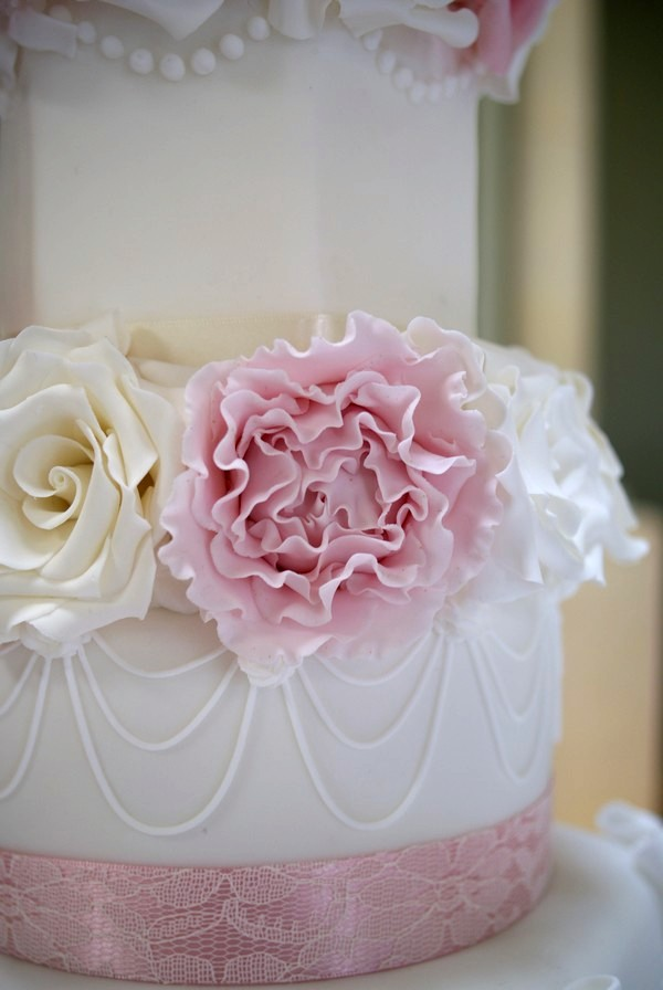 Close-Up of Sugar Flowers on Wedding Cake