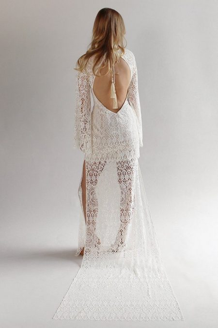 Back of Coachella Wedding Dress from the Claire Pettibone Romantique California Dreamin' 2017 Bridal Collection