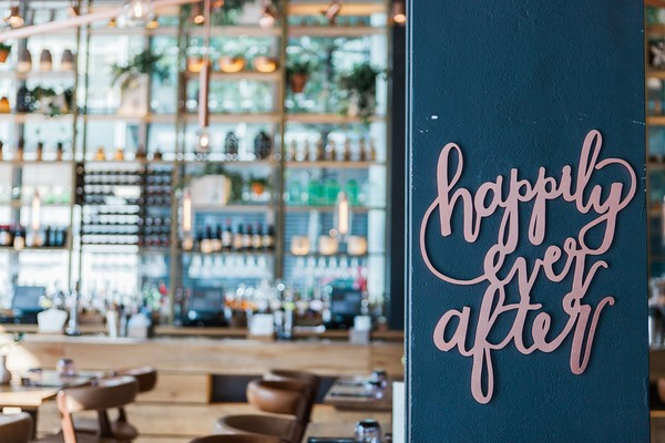 Happily Ever After sign at The Refinery at Regents Place