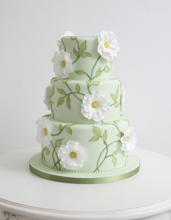 Green Coloured Wedding Cake with Leaves and Flower Detail