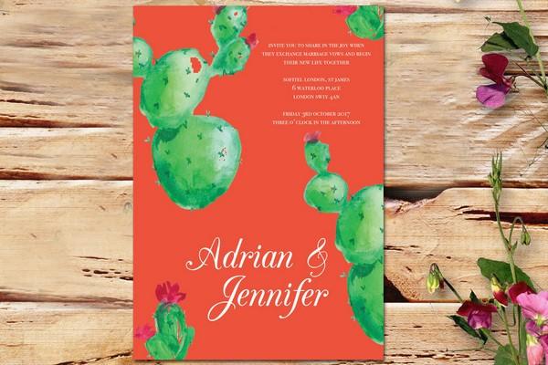 Green and Orange Cactus Wedding Invitation by Ananya Cards