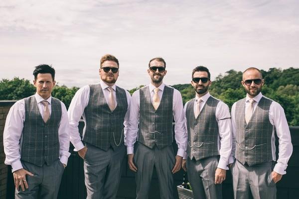 Groomsmen Wearing Grey Check Waistcoats