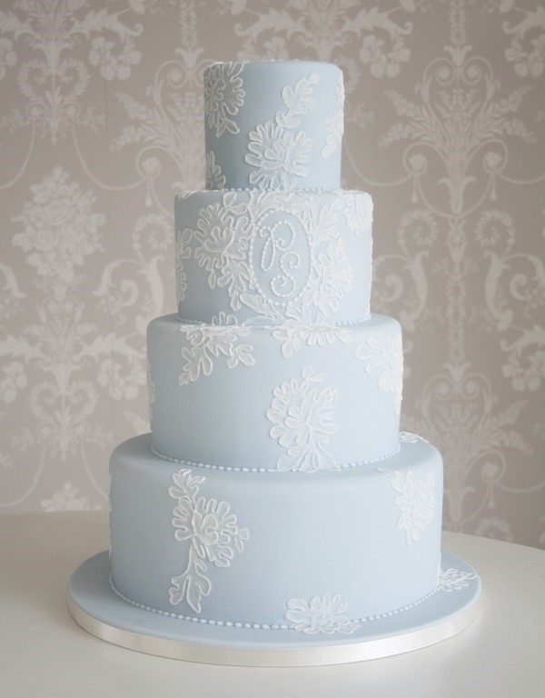 Pale Blue Coloured Wedding Cake with White Piping