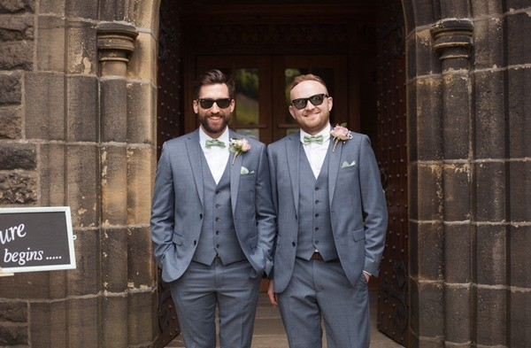 Groom and Best Man Wearing Plain Grey Waistcoats and Suits