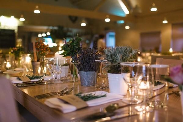 Pots of Herbs on Wedding Table