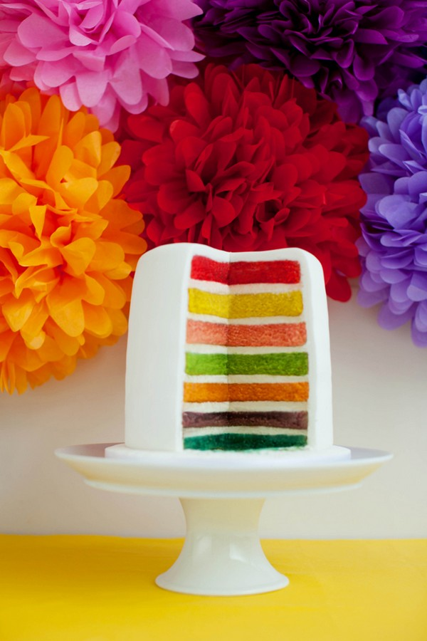 Rainbow Cake with Striped Inside by GC Couture