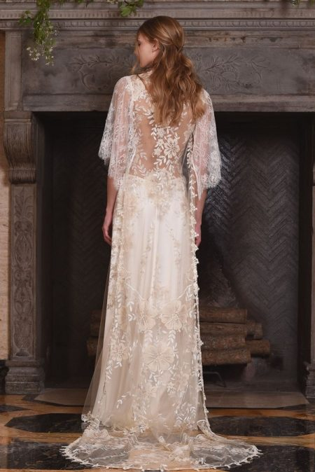 Back of Reverie Wedding Dress with Coat from the Claire Pettibone The Four Seasons 2017 Bridal Collection