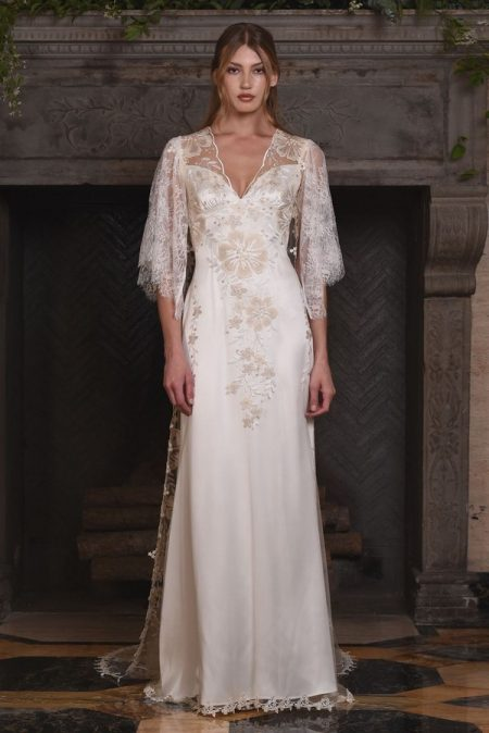 Reverie Wedding Dress with Coat from the Claire Pettibone The Four Seasons 2017 Bridal Collection
