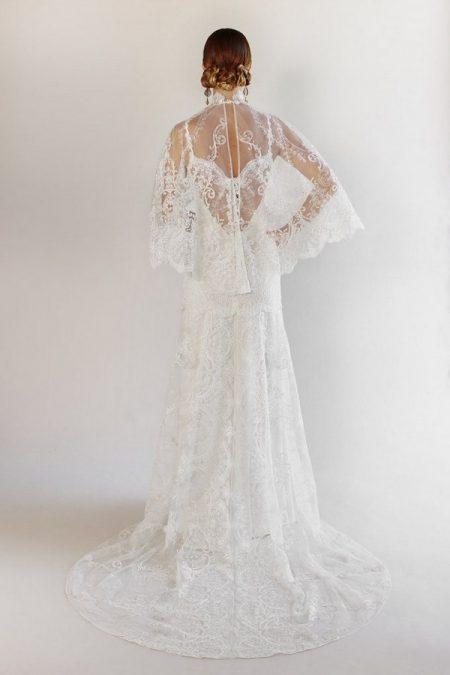 Back of Santa Monica Wedding Dress with Cape from the Claire Pettibone Romantique California Dreamin' 2017 Bridal Collection