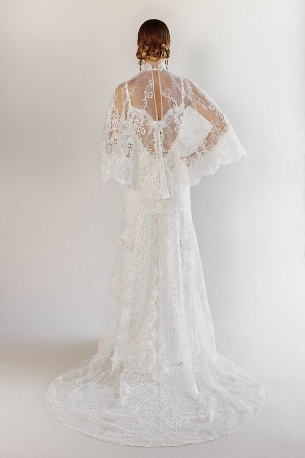 Back of Santa Monica Wedding Dress with Cape from the Claire Pettibone Romantique California Dreamin' 2017 Bridal Collection