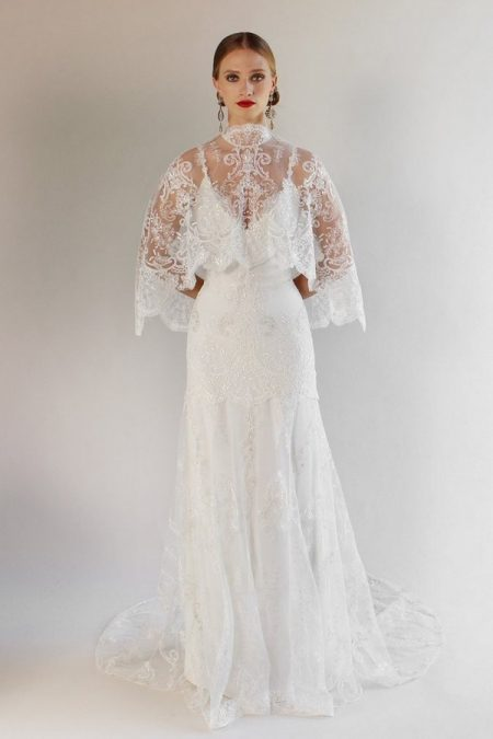 Santa Monica Wedding Dress with Cape from the Claire Pettibone Romantique California Dreamin' 2017 Bridal Collection