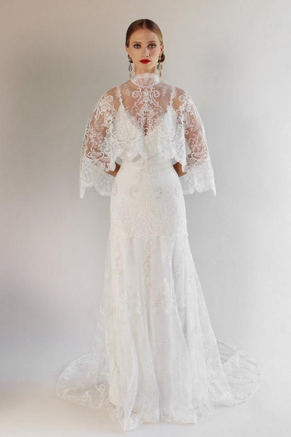 Santa Monica Wedding Dress with Cape from the Claire Pettibone Romantique California Dreamin' 2017 Bridal Collection
