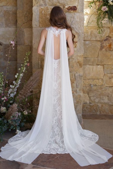 Back of Saratoga Wedding Dress with Cape from the Claire Pettibone Romantique The Vineyard Collection 2018