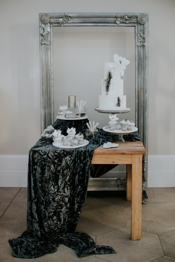 Silver and Grey Styled Wedding Dessert Table