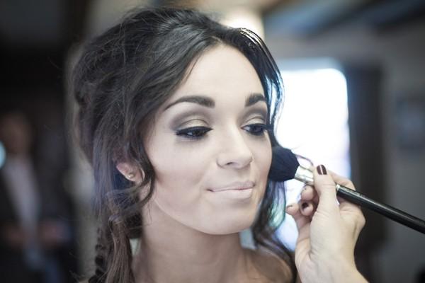 Using Blusher Brush on Bride