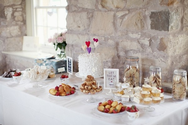 Wedding Dessert Table Against Wall