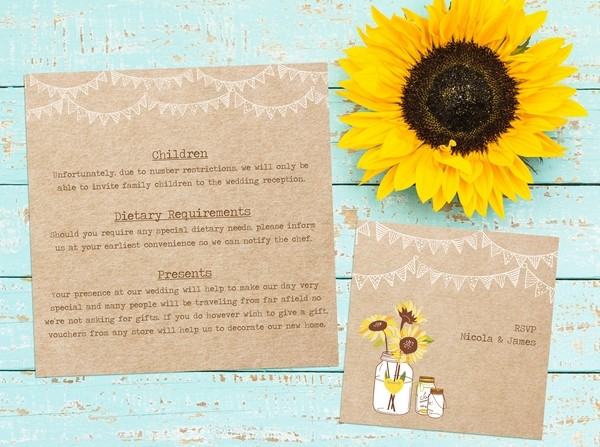 Children, Gifts and Food Info on Wedding Guest Information Card