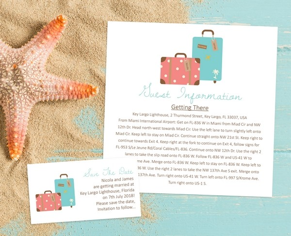 Destination wedding info on Wedding Guest Information Card