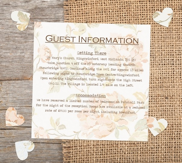 Venue and acommodation info on Wedding Guest Information Card