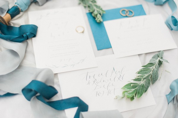 Wedding stationery with blue envelopes