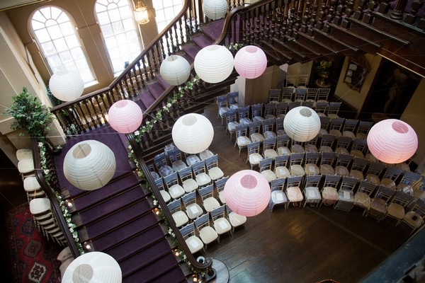 View from top of stairs of wedding ceremony room at Kings Weston House
