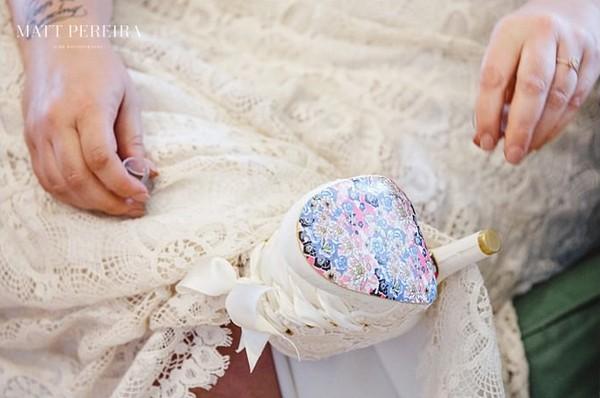 Pattern on sole of bride's shoe