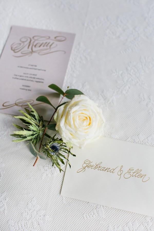 White rose and Art Nouveau style wedding stationery