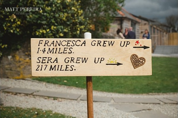 Sign showing how far away brides grew up