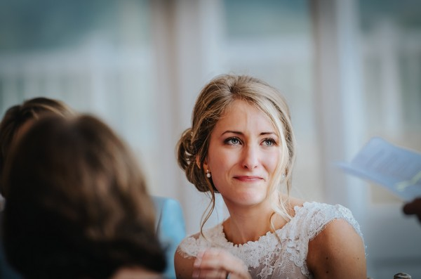 Bride listening to wedding speech - Picture by Sean Wood Photography