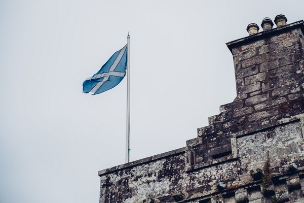 Scottish flag on Culcreach Castle Hotel