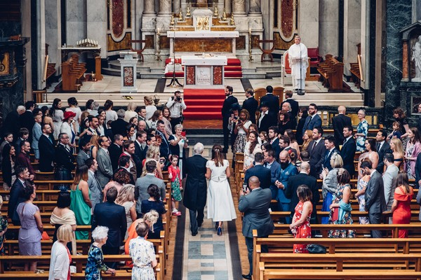 Father walking bride down the aisle at St Aloysius Church, Glasgow