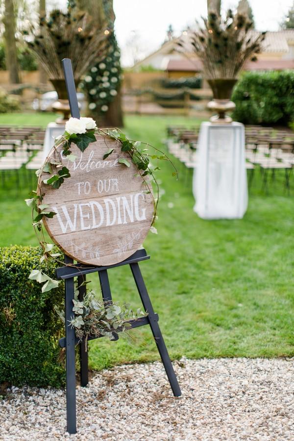 Round wooden wedding sign