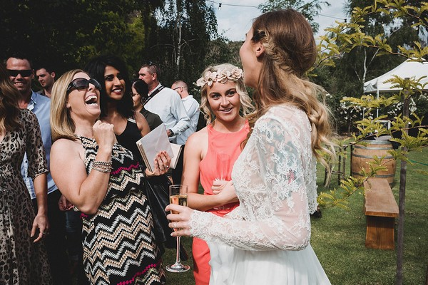 Bride talking to guests
