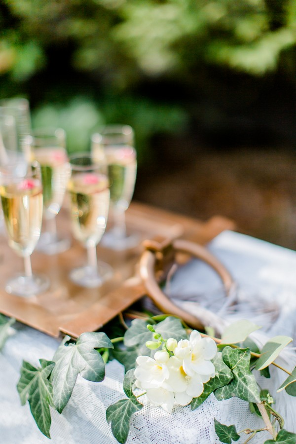 Tray of champagne