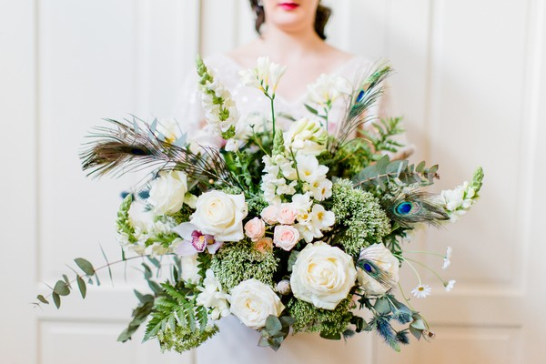 Bride holding large bouquet